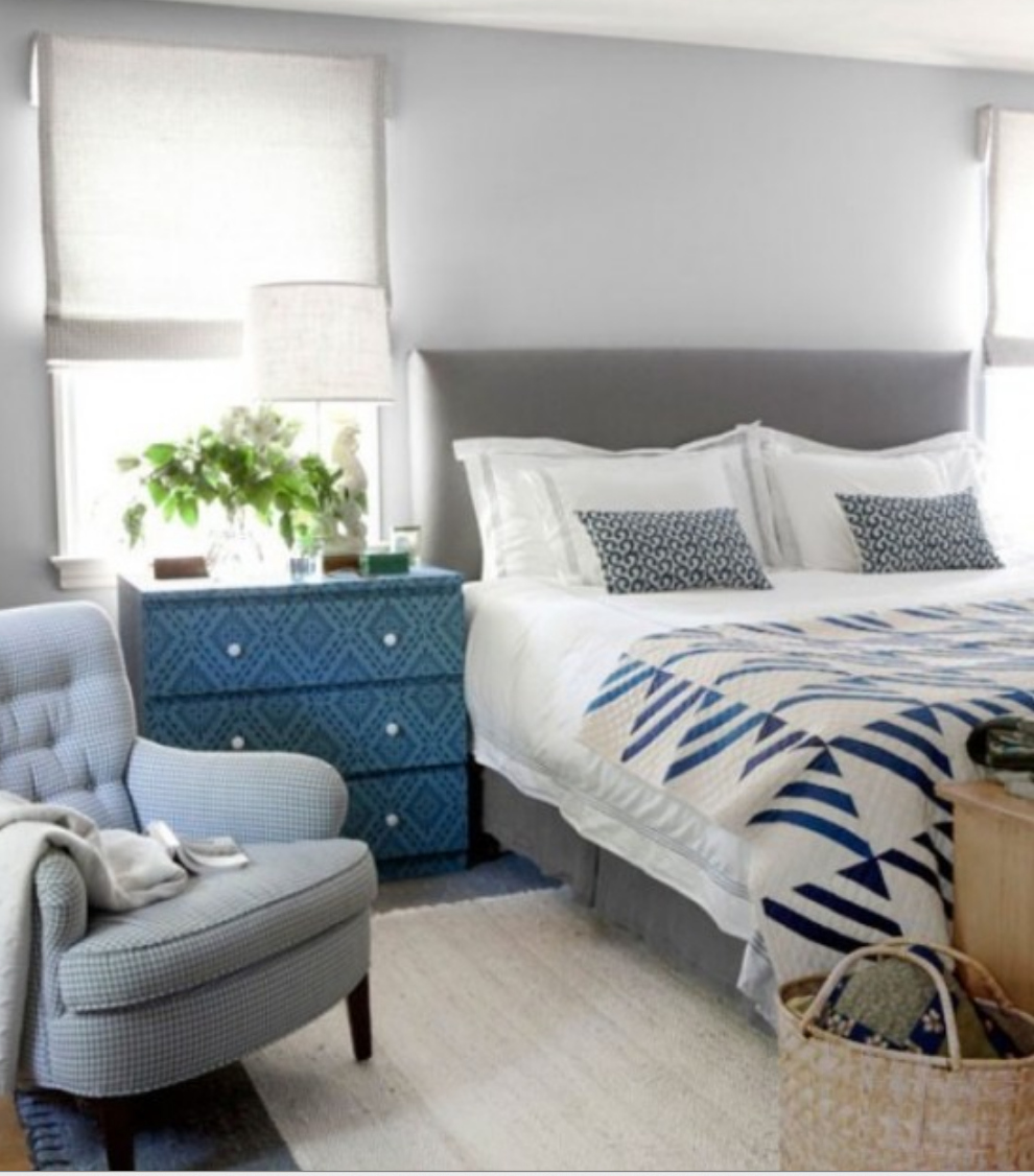 Grey Bedroom Decorating: Blue And Gray Rustic Decor Bedroom