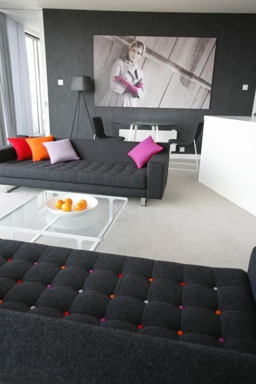 charcoal grey moder decor sofa living room