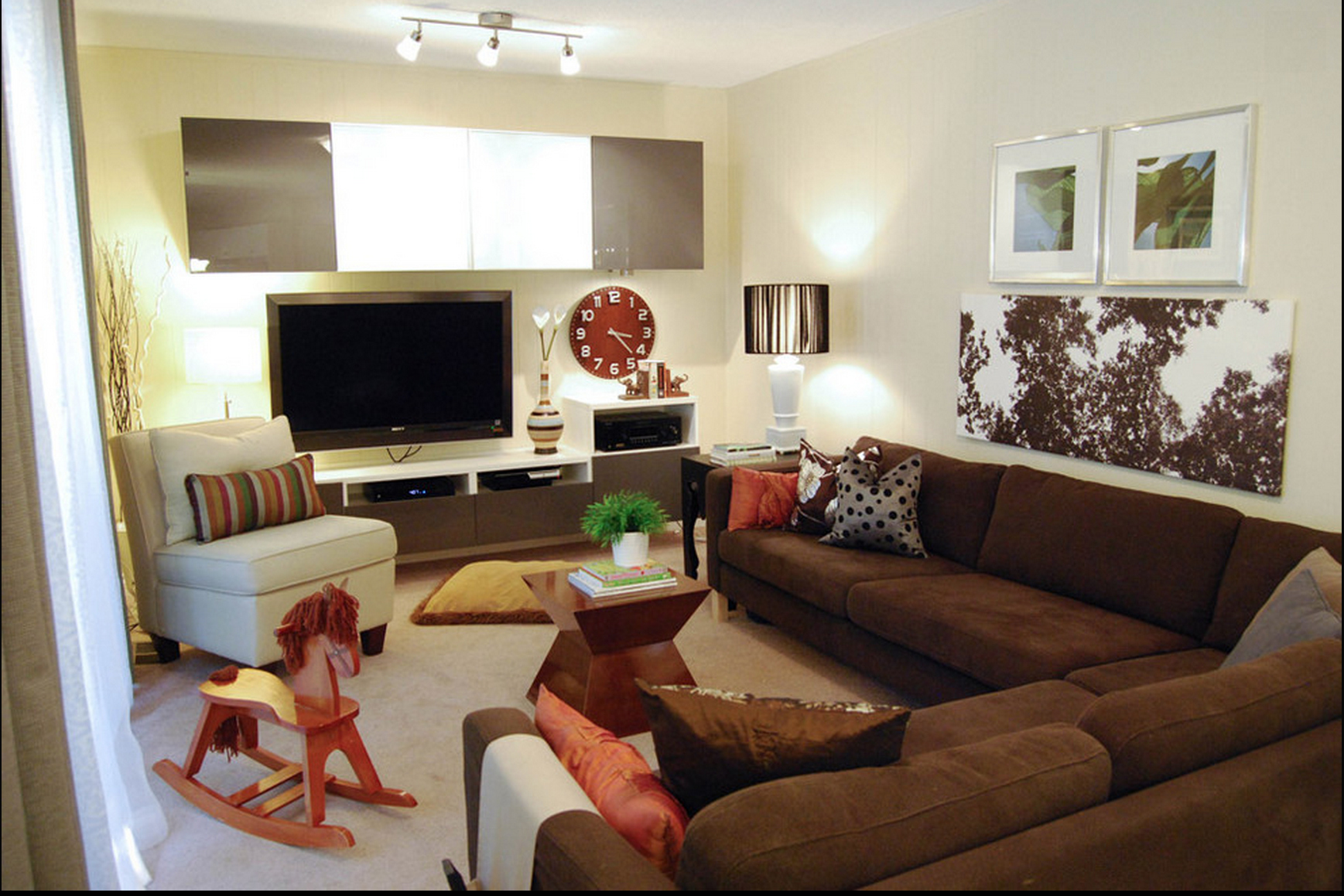 Contemporary decor familyroom brown couch just decorate for Brown couch decorating ideas