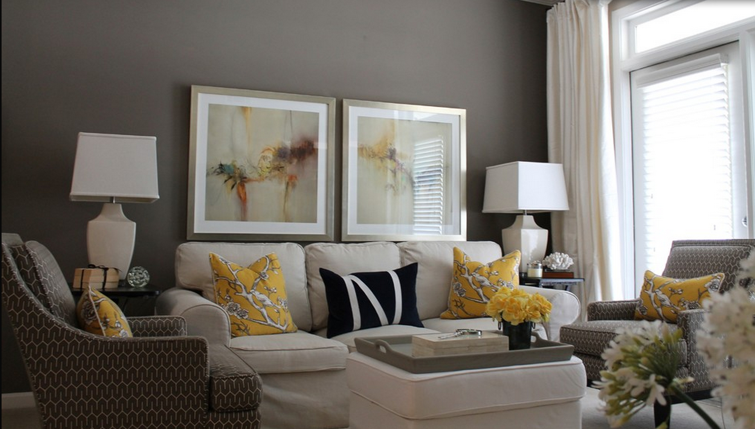 Awesome Contemporary Decor Living Room Gray And Yellow