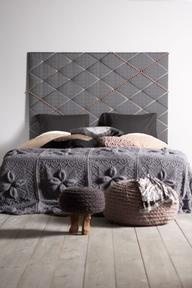 Contemporary nailhead and ribbon headboard
